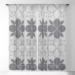 Black and Grey Flower Tile Sheer Curtain