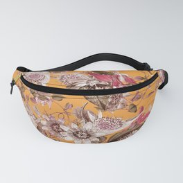 Passion Flower Floral Pattern on Orange Fanny Pack