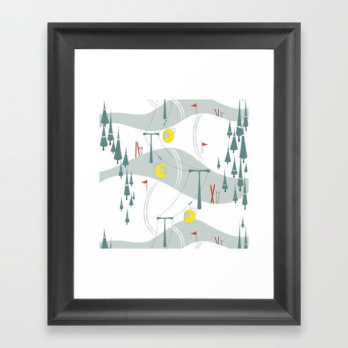 Retro Ski Gerahmter Kunstdruck