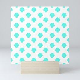 Seashells (Turquoise & White Pattern) Mini Art Print