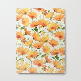 Painted Radiant Orange Daisies on off-white Metal Print