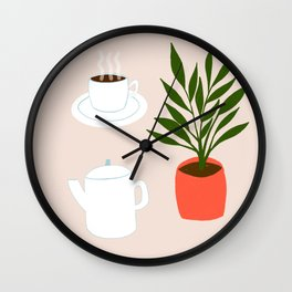 Coffee and Plant Wall Clock