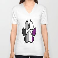 asexual V-neck T-shirts featuring Asexual Furry Pride by Jeymohr