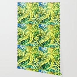 Green Yellow Pattern Shell Wallpaper