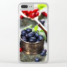 blueberries and red currant berries Clear iPhone Case