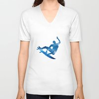 surf V-neck T-shirts featuring Surf by Sébastien BOUVIER