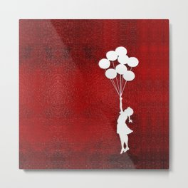 Banksy the balloons Girls silhouette Metal Print