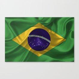 Waving fabric national flag of Brazil Canvas Print