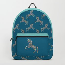 Floral Unicorn on Blue Backpack