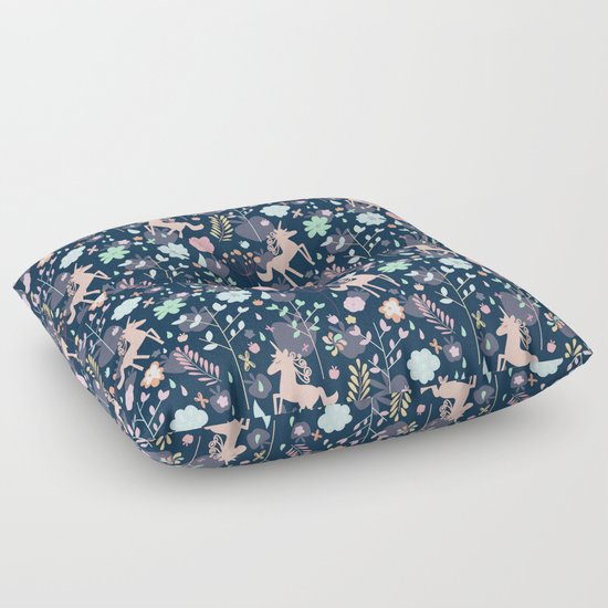 Unicorns in Hesperides Floor Pillow