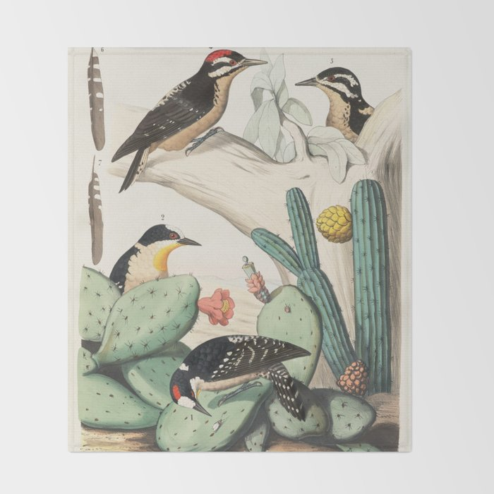 Woodpeckers And Cacti Throw Blanket