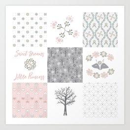 Sweet Dreams Little Princess Cheater Quilt Art Print