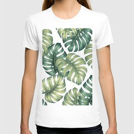 Monstera botanical leaves illustration pattern on white T-shirt