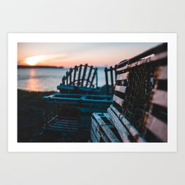 Lobster traps in front of an atlantic sunset Art Print
