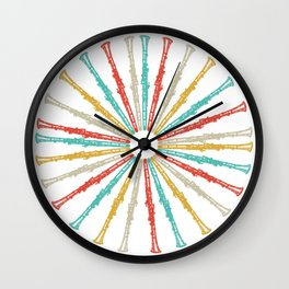 Colorful Clarinets Instrument Wall Clock