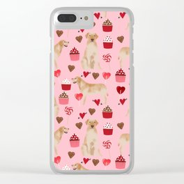 Yellow Lab valentines day hearts cupcakes cute labrador retriever Clear iPhone Case
