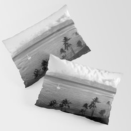 Panorama of Kaanapali Beach in Maui, Hawaii in Black and White - View of Lanai Pillow Sham