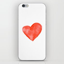 Red Watercolor Heart iPhone Skin