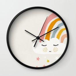 Rainbow, Abstract, Mid century modern kids wall art, Nursery room Wall Clock
