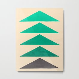 Colorful Turquoise Green Geometric Pattern with Black Accent Metal Print