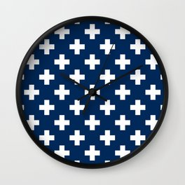 Navy Blue Plus Sign Pattern Wall Clock