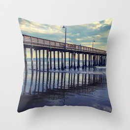 Just Wondering along the beach at Cayucos Pier Throw Pillow