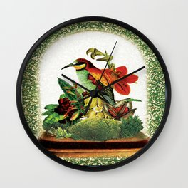 Red Bird Bell Jar Wall Clock