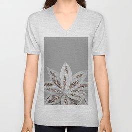 Gray Agave with Rose Gold Glitter #1 #shiny #tropical #decor #art #society6 Unisex V-Neck