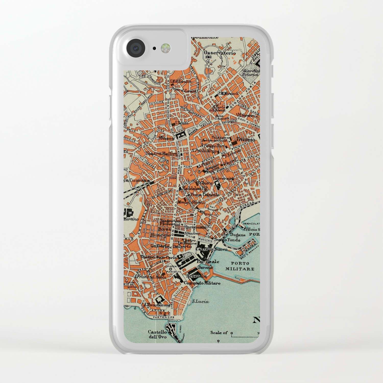 Clear Map Of Italy.Vintage Map Of Naples Italy 1911 Clear Iphone Case