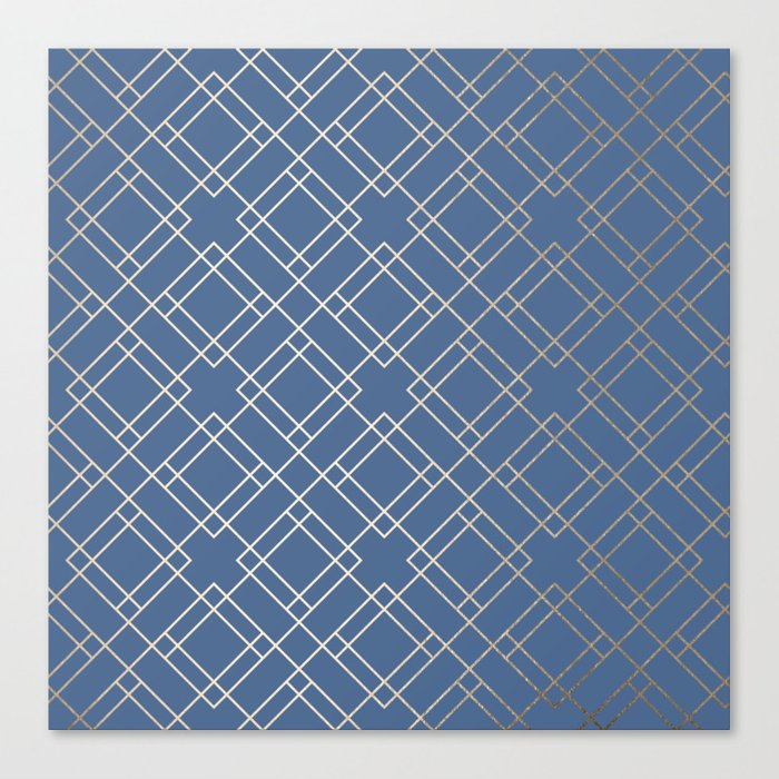Simply Mid-Century in White Gold Sands on Aegean Blue Canvas Print