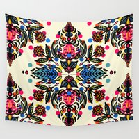 totes Wall Tapestries featuring Bright Folk Art Pattern - hot pink, orange, blue & green by micklyn