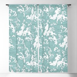 Traditional Hand Drawn Japanese Wave Ink Blackout Curtain