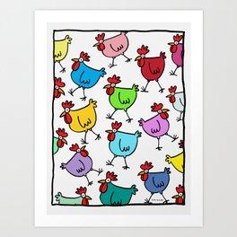 Random Chickens Art Print