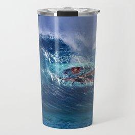 Mosasaurus attacks Surfer in a Wave Travel Mug
