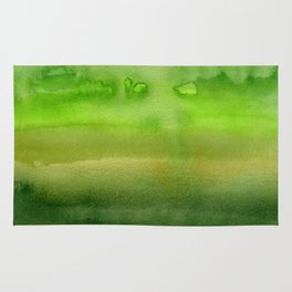 Spring Greens Abstract Watercolor Horizontal Pattern Rug