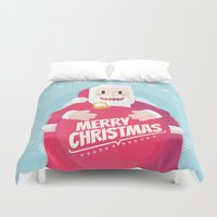 gift card Duvet Covers featuring Santa christmas card - sky by Shirley Mejía