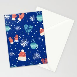 Winter Pattern Mittens Mugs Hearts Snow Flakes Stationery Cards