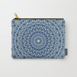Light Blue Psychedelic Garden Mandala Carry-All Pouch