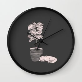 Cat and Plant Wall Clock