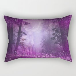 Fairy deer out of the woods mystic pink glitter forrest Rectangular Pillow