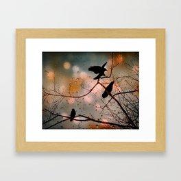 Rainy Day Crows Framed Art Print