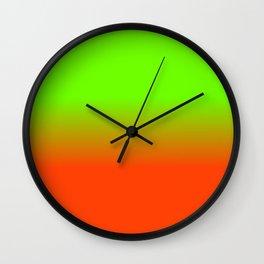 Neon Green and Neon Orange Ombré  Shade Color Fade Wall Clock