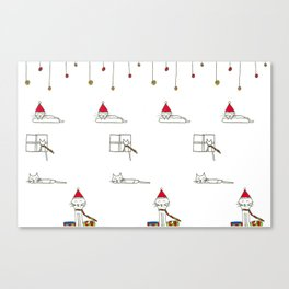 Cats eating and sleeping on Christmas Eve Canvas Print