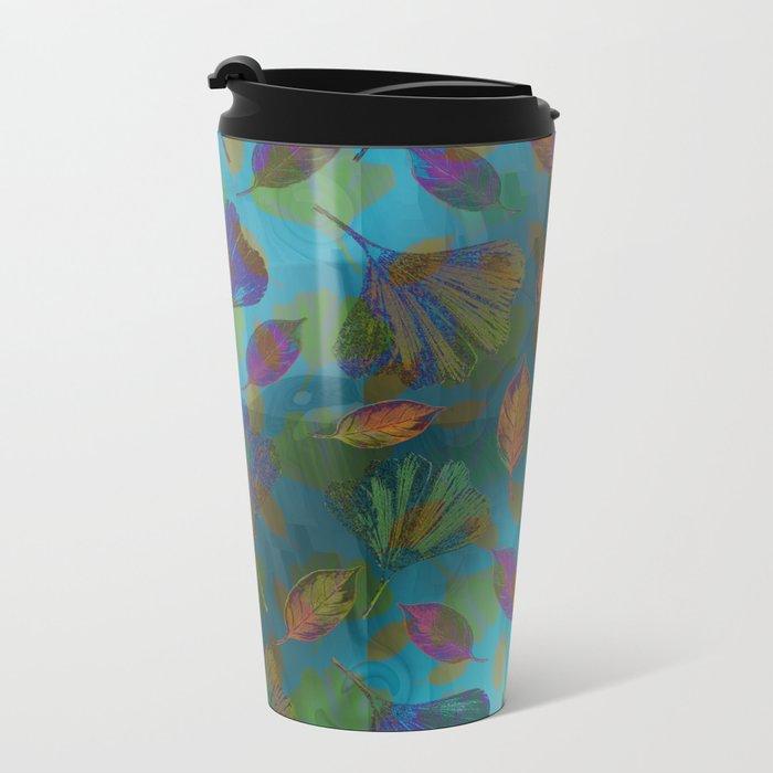 Ginkgo Leaves Under Water Metal Travel Mug