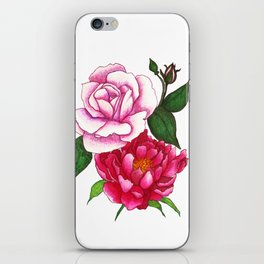 Rose and Peony Flowers iPhone Skin
