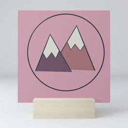 Snow Capped Mountains in Pink Mini Art Print