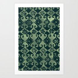 Time's Diamonds [green] Art Print