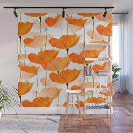 Orange Poppies On A White Background #decor #society6 #buyart Wall Mural