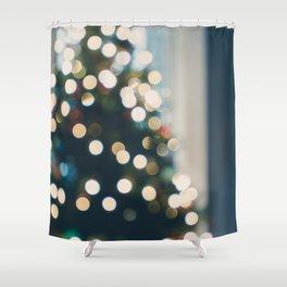Xmas Tree Lights Shower Curtain
