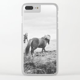Modern Animal Print, Icelandic Horses Clear iPhone Case
